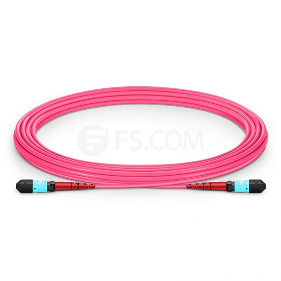 5M 24芯 MTP(母)万兆多模OM4 (OM3)主干光纤跳线,100GBASE-SR10 CXP/CFP/CPAK, 极性 A (TIA-568),低插损,Plenum (OFNP阻燃)