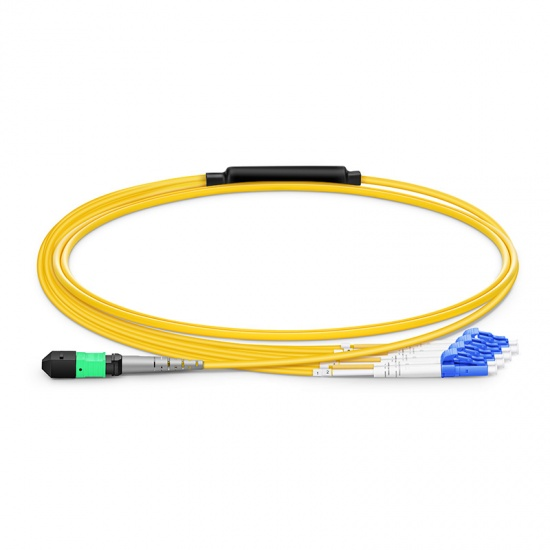 8 Fibres MTP to 4 LC UPC Duplex Plenum (OFNP) OS2 Single Mode Elite Fibre Breakout Cable, Type B, 1m