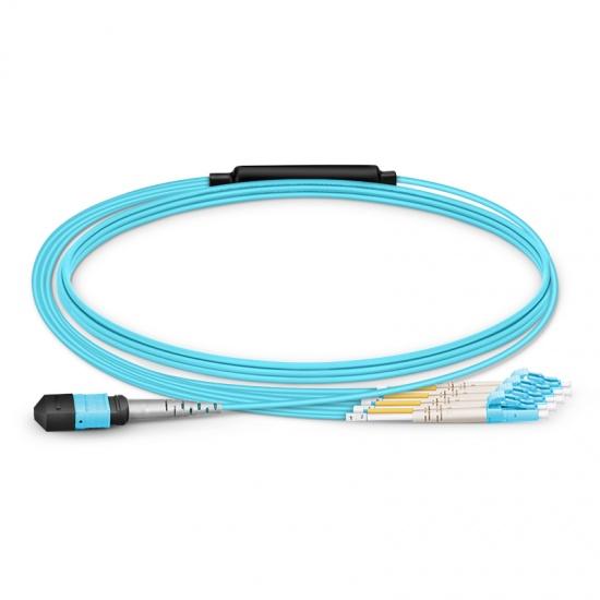 1m 8芯 MTP(母)-4*LC/UPC  双工万兆多模OM3分支光纤跳线,极性B, 低插损,Plenum(OFNP阻燃)