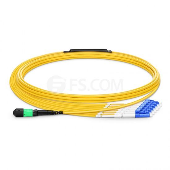 5m 12芯 MTP®(母)-6*LC/UPC  双工单模OS2分支光纤跳线,极性A, 低插损,Plenum(OFNP阻燃)