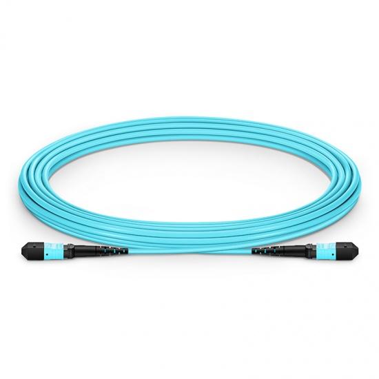 5m (16ft) MTP Female 12 Fibers Type A Plenum (OFNP) OM3 50/125 Multimode Elite Trunk Cable, Aqua
