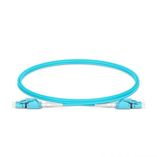 Cable de conexión de fibra, PVC(OFNR) 1m (3ft) LC UPC a LC UPC dúplex OM4 multimodo conmutable uniboot