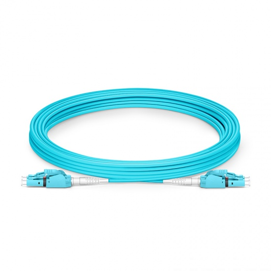 5m LC/UPC-LC/UPC 双工多模OM4极性转换式光纤跳线,PVC(OFNR)
