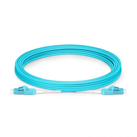 5m LC/UPC-LC/UPC万兆双工多模OM3光纤跳线,一管双芯,弯曲不敏感, PVC(OFNR)