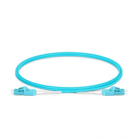 1m LC/UPC-LC/UPC万兆双工多模OM3光纤跳线,一管双芯,弯曲不敏感, PVC(OFNR)