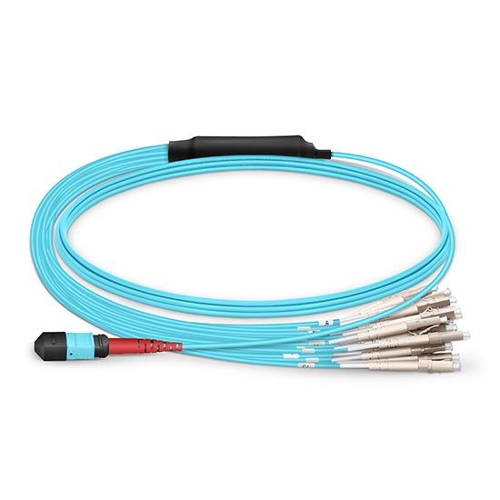 30.48m 24芯MTP®(母)-24*LC/UPC  单工万兆多模OM3分支光纤跳线,LSZH
