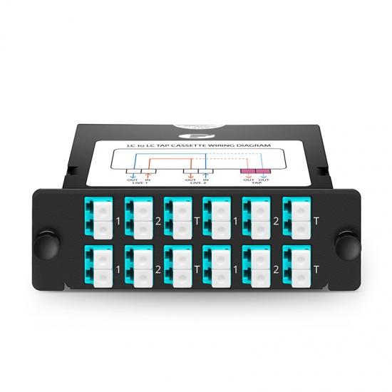 FHD LC TAP光纤监控配线盒,多模OM4,12xLC双工,50/50分光比,1/10/40/100G