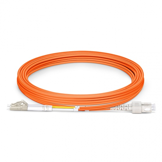3m (10ft) LC UPC to SC UPC Duplex 3.0mm PVC (OFNR) OM1 Multimode Fiber Optic Patch Cable