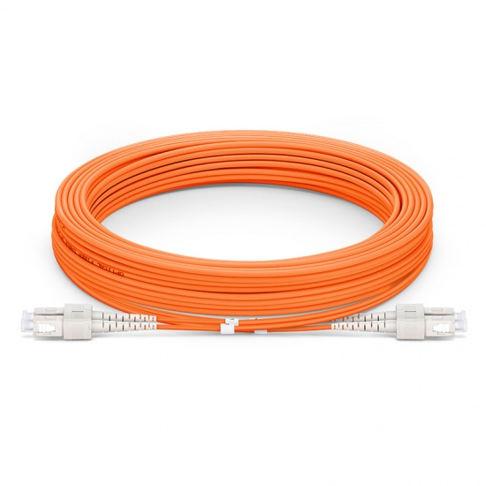 30m (98ft) SC UPC to SC UPC Duplex 3.0mm PVC (OFNR) OM1 Multimode Fiber Optic Patch Cable