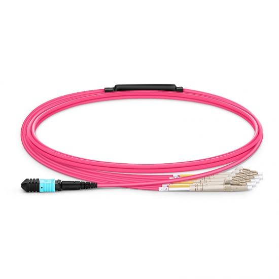 2m 8芯MPO(母)-4*LC/UPC  双工万兆多模OM4分支光纤跳线,极性B,低插损,LSZH