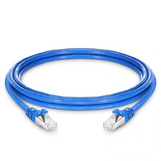 3m Cat6a超六类双屏蔽(SFTP)网络跳线,卡沟设计,蓝色,PVC CMX