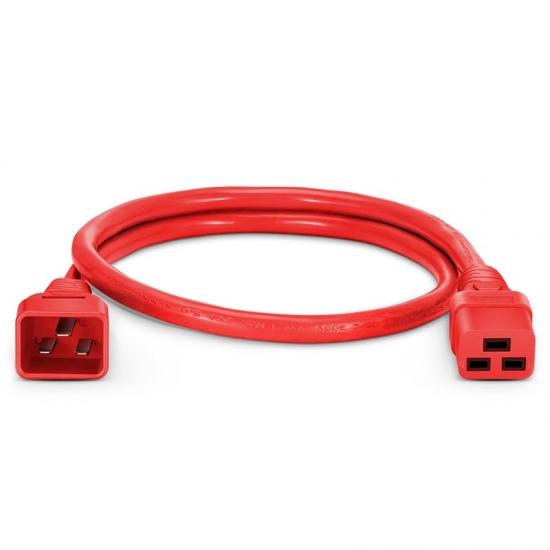 0,6m (2ft) IEC320 Netzkabel-Verlängerung (C20 auf C19, 12AWG, 250V/20A, Rot)