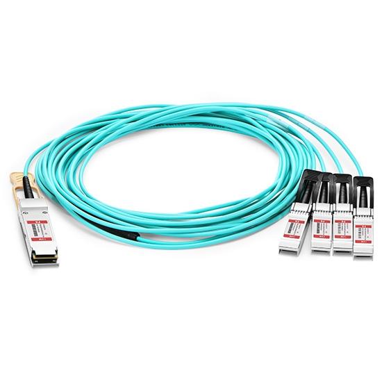 15m 飞速(FS) Q-4S28AO15 100G QSFP28 转 4xSFP28  OM3 有源分支光缆
