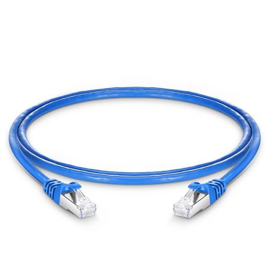0.9m Cat6a超六类双屏蔽(SFTP)网络跳线,卡沟设计,蓝色,PVC CMX