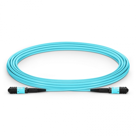 5.49m (18.01ft) Senko MPO Female to Female 12 Fibers OM3 50/125 Multimode Trunk Cable, Type A, LSZH, Aqua