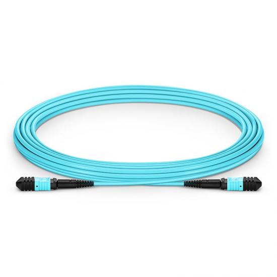 5.43m (17.8ft) Senko MPO Female to Female 12 Fibers OM3 50/125 Multimode Trunk Cable, Type A, LSZH, Aqua