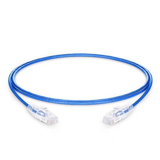 0.9m Cat6六类非屏蔽(UTP)细径网络跳线,卡沟设计,PVC护套,蓝色