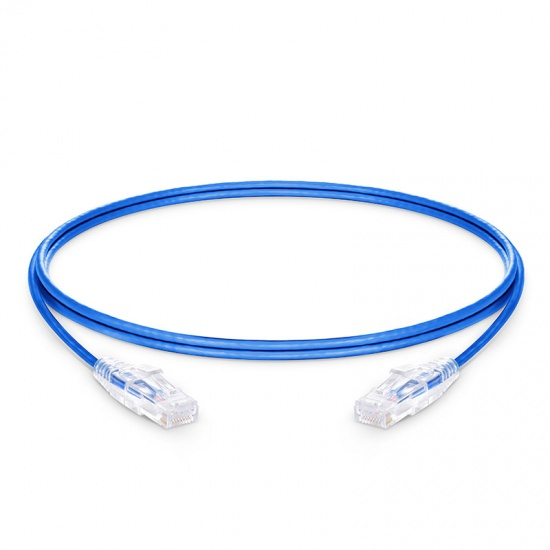 2.1m Cat6六类非屏蔽(UTP)细径网络跳线,卡沟设计,PVC护套,蓝色