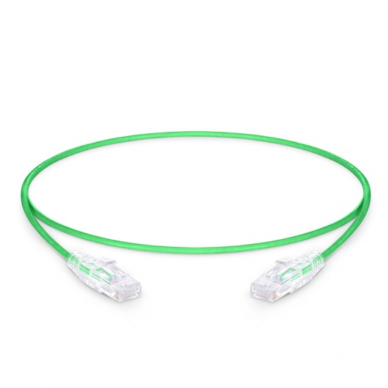 2ft (0.6m) Cat6 Snagless Unshielded (UTP) PVC CM Slim Ethernet Network Patch Cable, Green