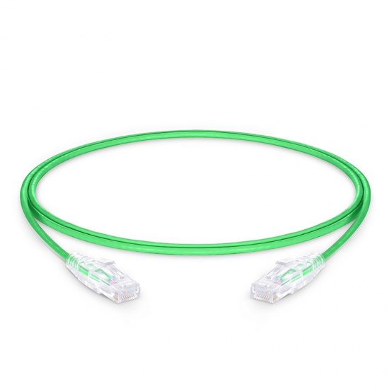 0.9m Cat6 Slim Ethernet Patch Cable - Snagless, Unshielded (UTP) PVC CM, 28AWG, Green