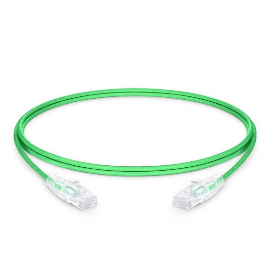 2.1m Cat6六类非屏蔽(UTP)细径网络跳线,卡沟设计,PVC护套,绿色