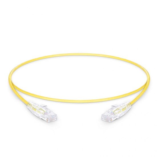 0.6m Cat6 Slim Ethernet Patch Cable - Snagless, Unshielded (UTP) PVC CM, 28AWG, Yellow