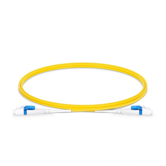 1m LC/UPC-LC/UPC 双工单模BIF光纤跳线,一管双芯, 扁平卡扣, PVC(OFNR)
