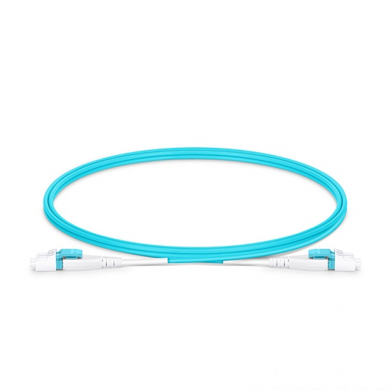 Cable de conexión de fibra óptica insensible a la curvatura, PVC (OFNR) 1m (3ft) LC UPC dúplex 2.0mm OM4 multimodo uniboot con clip plano