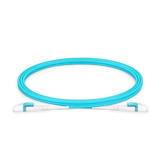 2m LC/UPC-LC/UPC 双工多模OM4 BIF光纤跳线,一管双芯, 扁平卡扣, PVC(OFNR)