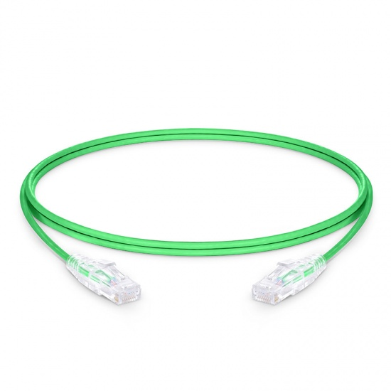 1.8m Cat6 Slim Ethernet Patch Cable - Snagless, Unshielded (UTP) PVC CM, 28AWG, Green