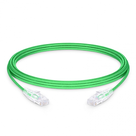 4.9m Cat6 Slim Ethernet Patch Cable - Snagless, Unshielded (UTP) PVC CM, 28AWG, Green
