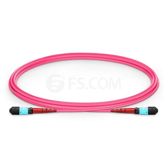 2M 24芯 MTP(母)万兆多模OM4 (OM3)主干光纤跳线,100GBASE-SR10 CXP/CFP/CPAK, 极性 A (TIA-568),低插损,Plenum (OFNP阻燃)