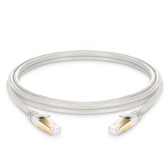 1.5m  Cat8八类双屏蔽(SFTP)网络跳线,卡沟设计,灰白色,PVC CMX