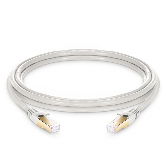 10ft (3m) Cat8 Snagless Shielded (SFTP) PVC CMX Ethernet Network Patch Cable, Off-White