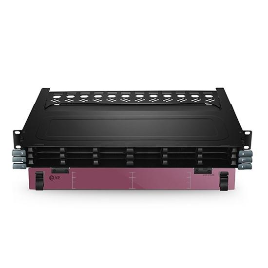 Rackmontage Ultra HD Glasfasergehäuse der FHX-Serie (1HE, 144 Fasern, bis zu 18x FHX MTP-8-Kassetten, Entladen)