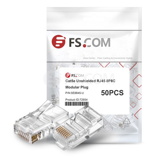 Cat5e Unshielded RJ45 Plug for Stranded Cables (50/Pack)