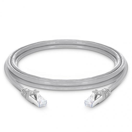3m Cat6a超六类双屏蔽(SFTP)网络跳线,卡沟设计,灰色,PVC CMX