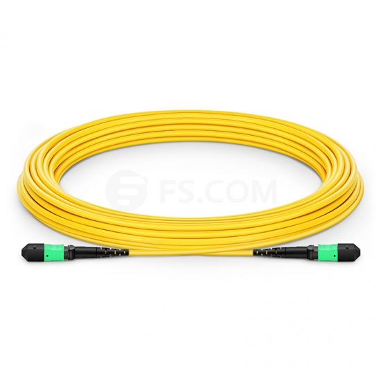 15m (49ft) MTP Female 12 Fibers Type A Plenum (OFNP) OS2 9/125 Single Mode Elite Trunk Cable, Yellow