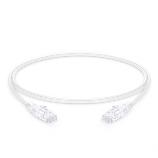 1.2m Cat6 Slim Ethernet Patch Cable - Snagless, Unshielded (UTP) PVC CM, 28AWG, White
