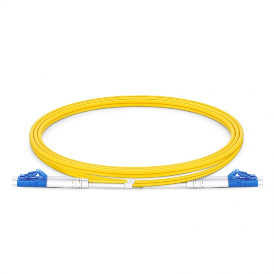 Customized Length LC UPC to LC UPC Duplex OS2 Single Mode PVC (OFNR) 2.0mm Fiber Optic Patch Cable