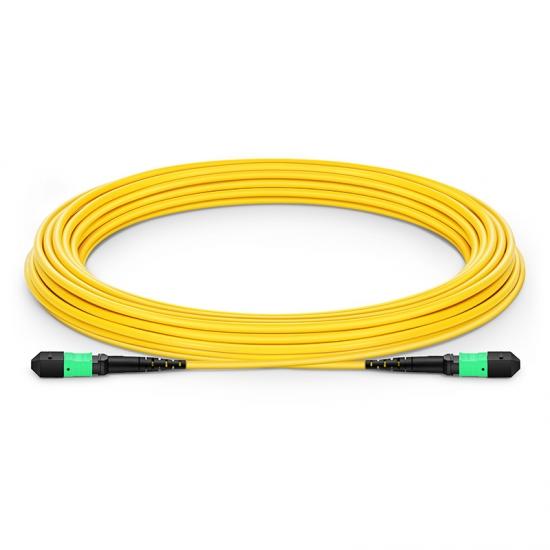 Customised Length MTP Female 12 Fibres OS2 Single Mode LSZH Fibre Trunk Cable, Elite, Type B, Yellow