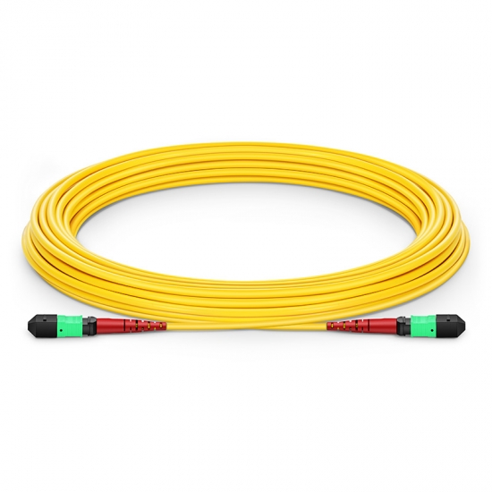 Customized Length MTP Female 24 Fibers Type A LSZH OS2 9/125 Single Mode Elite Trunk Cable, Yellow