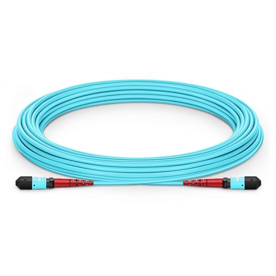Customized Length MTP Female 24 Fibers Type A LSZH OM3 50/125 Multimode Elite Trunk Cable, Aqua