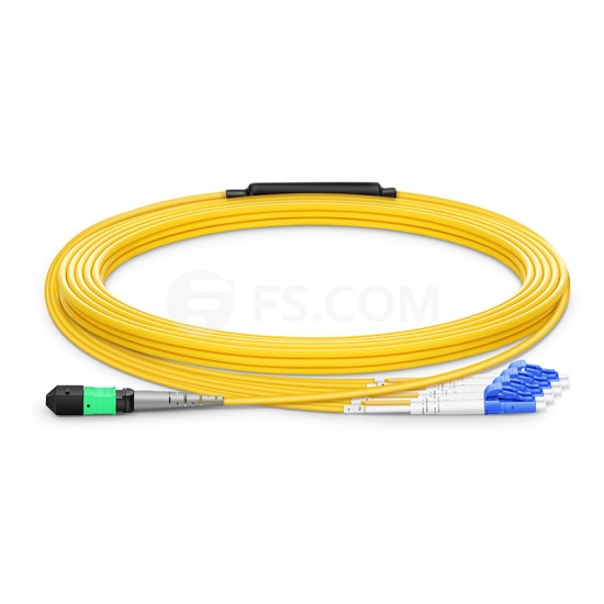 Customized Length MTP Female to 4 LC 8 Fibers Type B Plenum (OFNP) OS2 9/125 Single Mode Elite Breakout Cable, Yellow