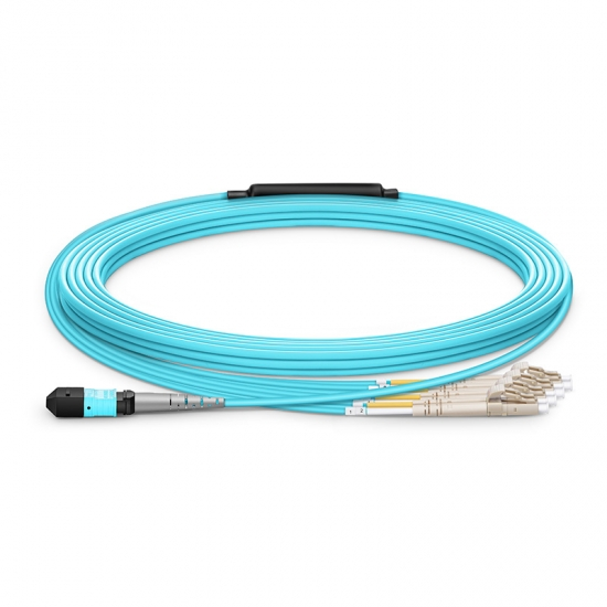 Customized Length MTP Female to 4 LC UPC Duplex 8 Fibers Type B LSZH OM4 50/125 Multimode Breakout Cable, Aqua
