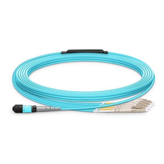 Maßgeschneiderte Länge MTP Buchse auf 4 LC 8 Fasern Polarität B LSZH OM3 50/125 Multimode Elite Breakoutkabel, Hellblau