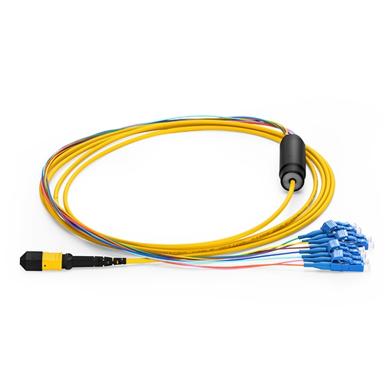 Customized Length MTP Female to 4 LC 8 Fibers Type A LSZH OS2 9/125 Single Mode Elite Breakout Cable, Yellow