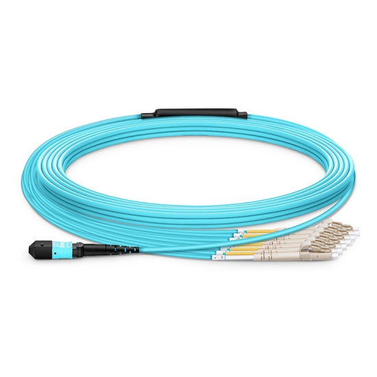 Customized Length MTP Female to 6 LC 12 Fibers Type A LSZH OM3 50/125 Multimode Elite Breakout Cable, Aqua
