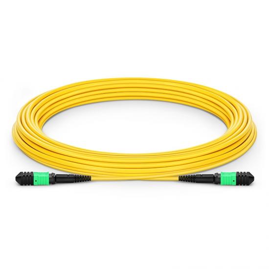 Customized Length Senko MPO Female 12 Fibers Type A LSZH OS2 9/125 Single Mode Elite Trunk Cable, Yellow