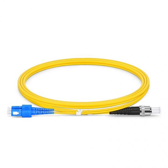 Customized Length SC UPC to ST UPC Duplex OS2 Single Mode PVC (OFNR) 2.0mm Fiber Optic Patch Cable
